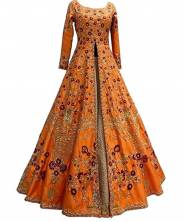 Serraw Womens'BEUTIQUE HEAVY EMBROIDERED WORK SUIT AND LEHENGHA WITH DUPATTA Orange Color