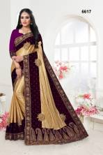 Serraw Women's Pure Velvet Malay Silk Saree With Embroidery  & Fancy Work Border With Running Blouse