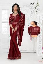 Serraw Women's Rangoli Fancy Saree With Fancy Embroidered Border With Heavy Work Satin Banglory Blou