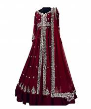 erraw Women's Georgette Gown with  Zari & Embroidery Work Fully Stitched with Cancan Belt (Maroon)