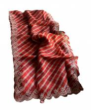 Serraw Women's Digital Organza Saree with Fancy Work With Blouse-Red(VA5011/60)