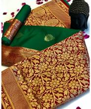Serraw Women's Banarasi Silk Gold Jari Saree With Rich Pallu & Jari Weaving Border(RS10A50P)