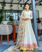 NEW  EMBROIDERED ANARKALI GOWN WITH  HEAVY JACKQUARD COTTON SILK WITH FULLY EMBROIDERY WORK LACE FUL