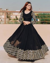 SERRAW WOMEN'S HEAVY GEORGETTE  ANARKALI GOWN WITH FULLY BOTH SIDE ZARI EMBROIDERY WORK FULLY STITCH