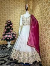 SERRAW WOMEN'S  GEORGETTE GOWN WITH  EMBROIDERY LACE BORDER DUPATTA