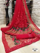 Serraw Women's Heavy Net Saree With Heavy Embroidery & Diamond Lace Stone Work With Net Blouse Un St