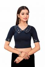 Serraw Women's Lycra Cotton Blouse With Mirror Embroidery Work