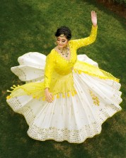 Designer Butter Silk Lehenga Choli With Print and Real Mirror Work Yellow & White Color