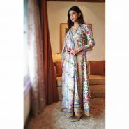 HEAVY BUTTER SILK GOWN  WITH DIGITAL PRINT WORK FULLY STITCHED WITH FANCY GOLDEN LACE BORDER