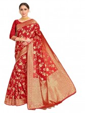 Serraw Banarasi Silk Saree with Gold Zari Work (RED)