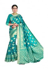 Serraw Women's Indian Traditional Pure Weaving Saree With Golden Zari Work (Sky Blue)