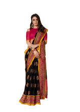 Soft Beautiful Smoke Linen Saree With Nice Border With Blouse- Black Color