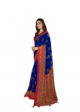 Soft Beautiful Smoke Linen Saree With Nice Border With Blouse- Blue Color