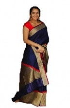 Serraw Women's Soft Litchi Silk with Rich Pallu & Jacquard Work -Navy Blue Color.