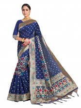 Serraw Women's Banarasi Saree With Jangla & Meenakari Floral Work With Blouse (Light Blue)