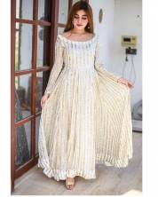 HEAVY GEORGETTE GOWN WITH FULLY BOTH SIDE SEQUENCE WORK FULLY STITCHED  CREAM COLOR