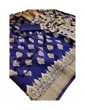 Serraw Women's Soft and Silky Litchi Silk Saree Heavy Rich Pallu with Jacquard Blouse-Blue.