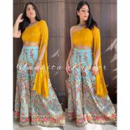 SERRAW WOMEN'S TAPETA SILK TOP WITH EMBROIDERY & REAL MIRROR HAND WORK FULLY STITCHED