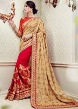 Serraw Women's Chinon Heavy Work Saree With Embroidery work & Georgette Moti Lace Border With Jacqua