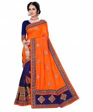 Serraw Women's Sana Silk Saree With Banglory Silk Blouse-Orange