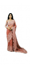 Organza Silk Saree Full Heavy Machine And Hand Embroidery Work With Blouse-Orange Color
