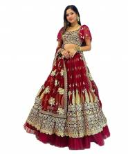 Serraw Women's Lehenga Choli Heavy Soft Butterfly Net With Embroidery Work