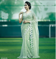 Heavy Organza Silk  Saree With Beautiful Embroidery Work With Un-Stitched Blouse