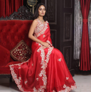 Georgette Saree With Heavy Embroidery Work With Tapetta Silk Blouse