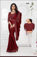 Rangoli Fancy Saree With Fancy Embroided Border With Heavy Work Satin Banglory Blouse