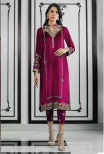 Satin Salwar Suit With Embroidery Work