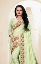 Chinon Fabric with Heavy Sequence Work In All Over Saree