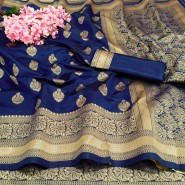 Soft Banararsi Silk Saree Heavy Pallu & Wooven Border With Blouse- Blue Color
