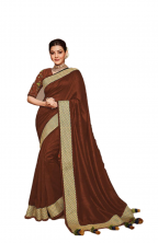 Vichitra Silk Saree Embroidery Lace Border & Jhalar Work With Blouse- Brown Color