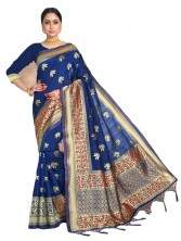 Banarasi Saree Jangla & Meenakari Floral Design Work With Blouse - Dark Blue Color