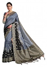 Banarasi Saree Jangla & Meenakari Floral Design Work With Blouse - Grey Color