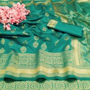 Soft Banararsi Silk Saree Heavy Pallu & Wooven Border With Blouse- Light Green Color