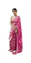 Soft Lichi Silk Saree Rich Pallu & Jacquard Work On All With Blouse Piece- Pink Color