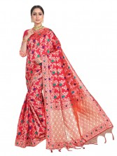 Banarasi Saree Jangla & Meenakari Floral Design Work With Blouse - Pink Color