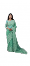 Organza Silk Saree Full Heavy Machine And Hand Embroidery Work With Blouse- Sky BlueColor