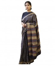 Serraw Women's Tusser Silk Saree With Rich Pallu & Digital Print Work With Blouse