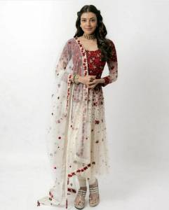 Serraw Women's New White Embroided Georgette Butta Gown With Moti Work Fully Stitched