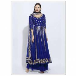Serraw Women's GEORGETTE TOP WITH BEAUTIFUL ZARI EMBROIDERED WORK FULLY STITCHED