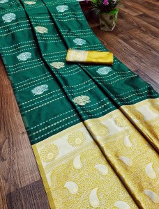 Serraw Women's Soft Litchi Silk Saree with Blouse-Green.