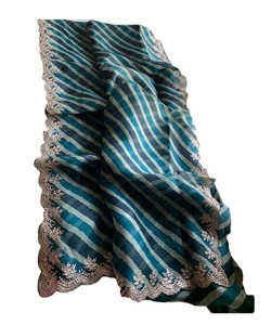 Serraw Women's Digital Organza Saree with Fancy Work With Blouse-Sky Blue