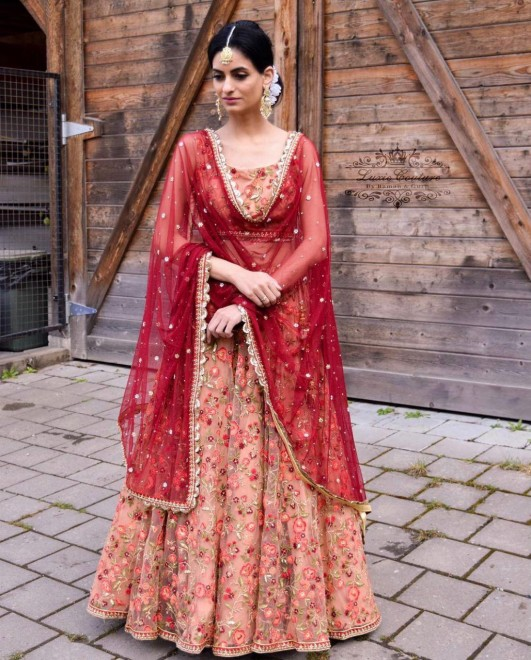 SERRAW WOMEN'S NEW PARTY WEAR FREE SIZE NET LEHENGA WITH HEAVY EMBROIDERY WORK CHOLI FULLY STITCHED