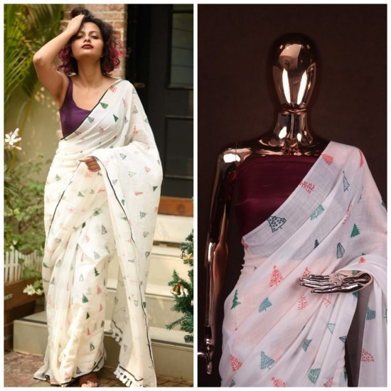 Linen Cotton Saree With Printed Work
